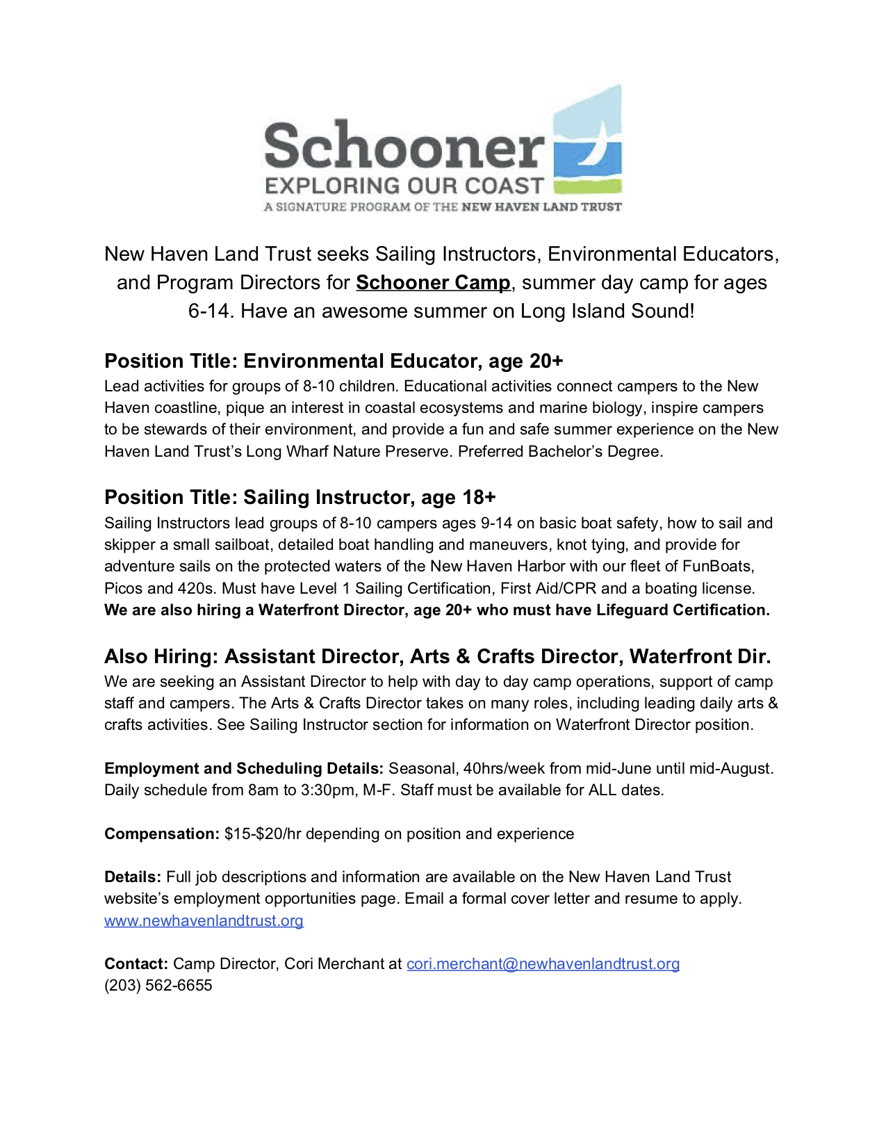 Schooner Camp Positions Summer 2019 – The Sound School